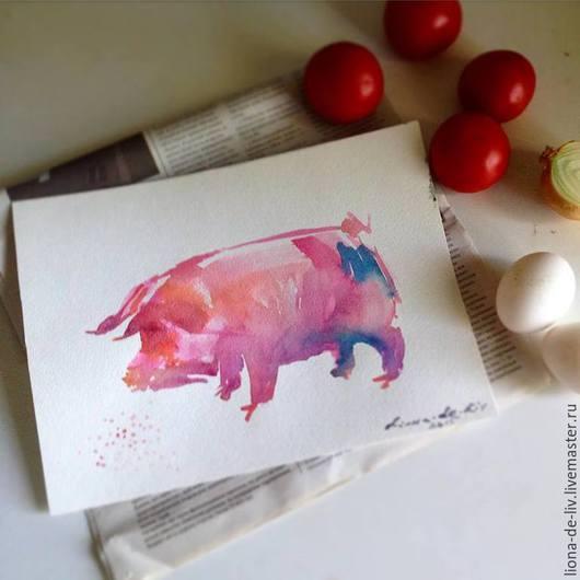 """Животные ручной работы. Ярмарка Мастеров - ручная работа. Купить """"Свинья и стеклярус"""". Handmade. Розовый, картина, бисер, акварельная бумага"""