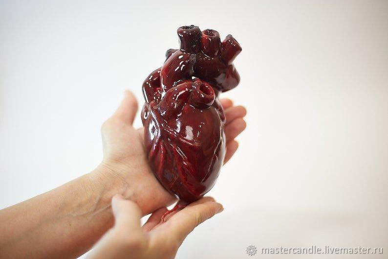 Свеча Сердце. Ручная лепка. 8 марта. Готика, Свечи, Москва,  Фото №1