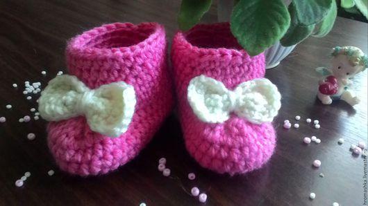 """Обувь ручной работы. Ярмарка Мастеров - ручная работа. Купить Пинетки для девочки   """" Нежность """". Handmade. Зеленый"""