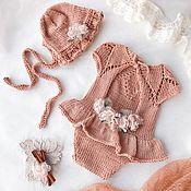 Боди ручной работы. Ярмарка Мастеров - ручная работа Боди и шапочка для фотосессии Flower Caramel. Handmade.