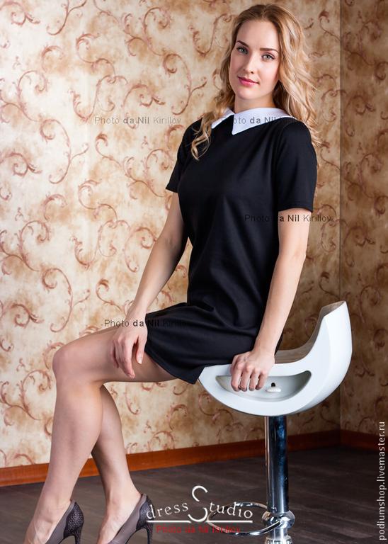 Французское платье черное с белым