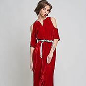Одежда ручной работы. Ярмарка Мастеров - ручная работа Платье бархатное красное длинное (шелковый бархат). Handmade.