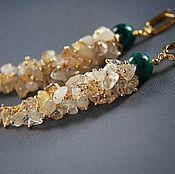 Украшения handmade. Livemaster - original item Earrings-bunches - rutilated quartz, chrysocolla, garnet, gold plated. Handmade.