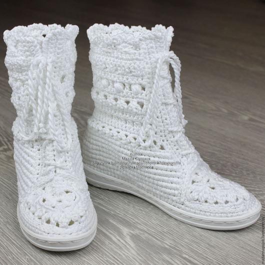 """Обувь ручной работы. Ярмарка Мастеров - ручная работа. Купить Сапожки хлопковые """"Белоснежные кружева"""". Handmade. Белый, вязаная обувь"""