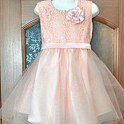 Работы для детей, ручной работы. Ярмарка Мастеров - ручная работа Нарядное платье с цветком и пышной юбкой. Handmade.