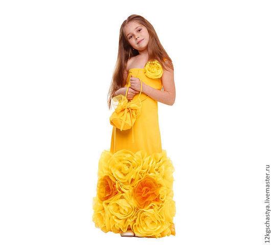 """Одежда для девочек, ручной работы. Ярмарка Мастеров - ручная работа. Купить Платье """"Осенний вальс"""". Handmade. Желтый, платье для девочки"""