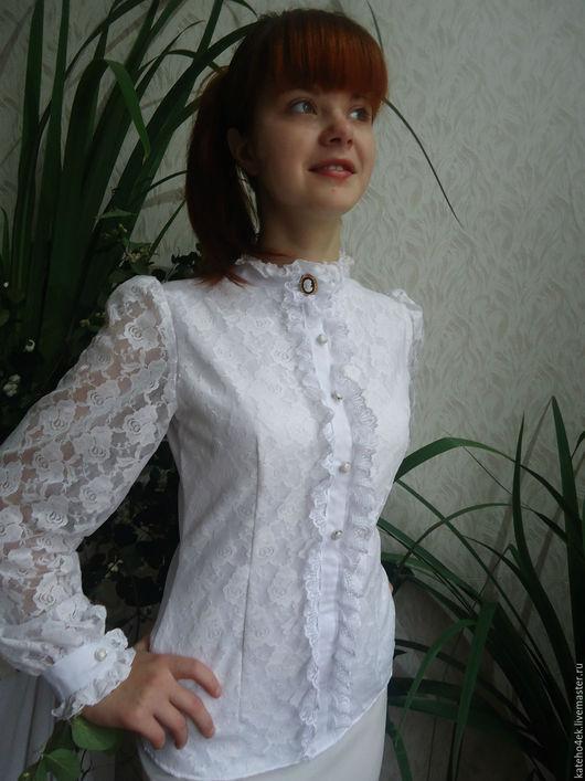 Блузки ручной работы. Ярмарка Мастеров - ручная работа. Купить Блузка белая. Handmade. Белый, блузка, кружево на сетке