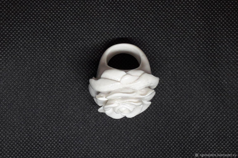 'Large white rose' ring, Rings, Ekaterinburg,  Фото №1