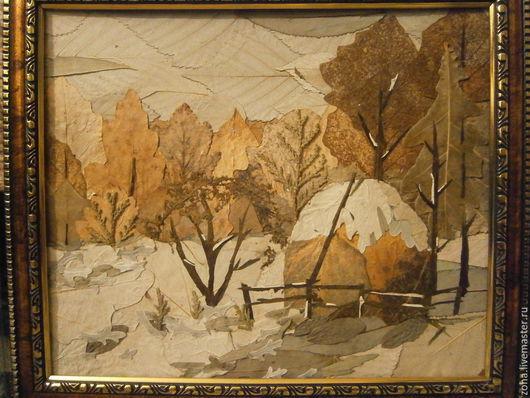 Пейзаж ручной работы. Ярмарка Мастеров - ручная работа. Купить В лесу. Handmade. Разноцветный, листья, картина, зима, стог