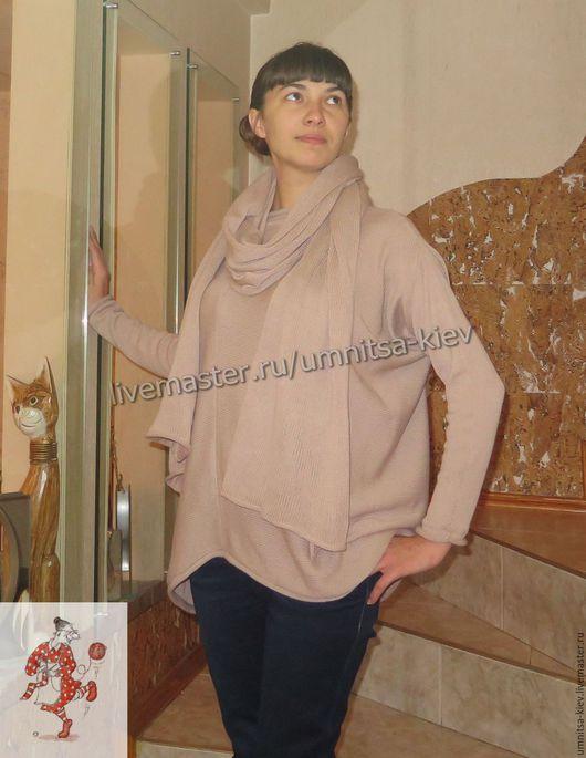 Фото. Вязаный длинный пуловер `Капучино` связан из кашемира.