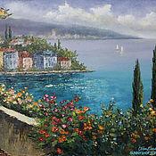 """Картины и панно ручной работы. Ярмарка Мастеров - ручная работа Картина маслом """"Средиземноморье. Яркий пейзаж"""" в раме. Handmade."""