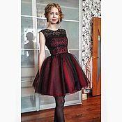 Одежда ручной работы. Ярмарка Мастеров - ручная работа Бордово-черное платье. Handmade.