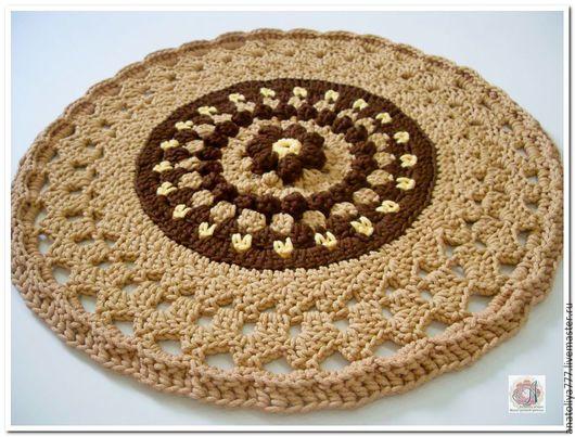 Текстиль, ковры ручной работы. Ярмарка Мастеров - ручная работа. Купить Коврик ручной работы вязаный из шнура Цветок каштана. Handmade.