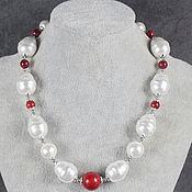 Украшения handmade. Livemaster - original item Necklace pearl barrocco majorca and red coral. Handmade.