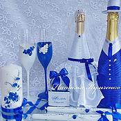 Свадебный салон ручной работы. Ярмарка Мастеров - ручная работа Свадебный комплект в насыщенном синем. Handmade.