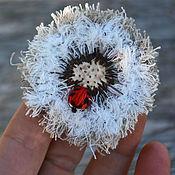 Украшения handmade. Livemaster - original item Textile boho brooch Dandelion and ladybug. Handmade.