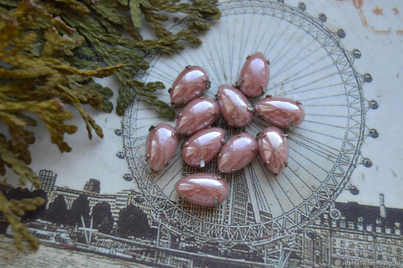Pearl rhinestones Delicate rose 6h10 mm drop, Cabochons, Stavropol,  Фото №1