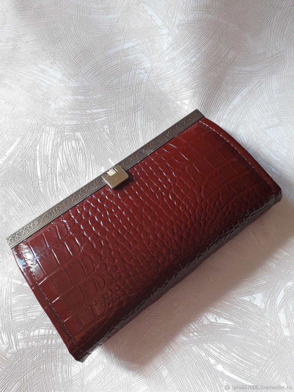 Женский кошелек `Бордово-коричневый КРОКО` из кожи,кожаный кошелек, кошелек из кожи, подарок женщине, кожгалантерея,кожаное изделие ручной работы,купить, сделать на заказ,бордовый кошелек,коричневый
