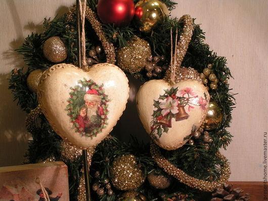 Комплекты аксессуаров ручной работы. Ярмарка Мастеров - ручная работа. Купить Винтажные новогодние сердечки Набор интерьерных подвесок. Handmade.