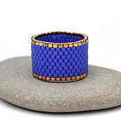 Украшения ручной работы. Ярмарка Мастеров - ручная работа Яркое синее кольцо из бисера Стильное кольцо на каждый день Минимализм. Handmade.