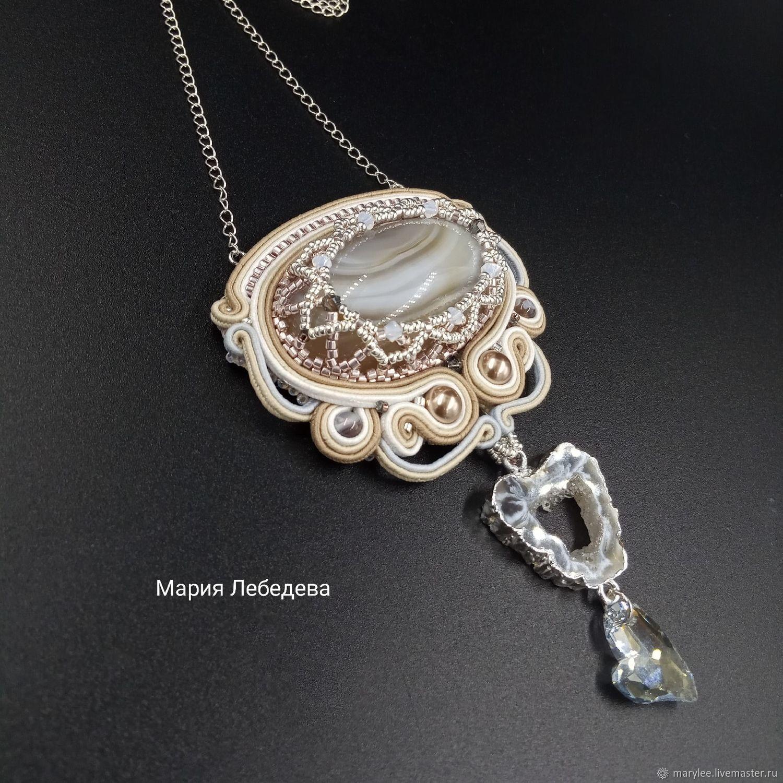 Soutache pendant 'Soul' with agates. Buy pendant, large pendant, Pendant, Sarov,  Фото №1