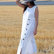 Одежда handmade. Livemaster - original item Summer, linen dress with buttons - DR0319LE. Handmade.
