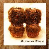 """Обувь ручной работы. Ярмарка Мастеров - ручная работа Вязаные меховые угги """"Корица"""". Handmade."""