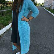 Одежда handmade. Livemaster - original item Cárdigan largo de punto con trenzas de mohair italiano en seda. Handmade.