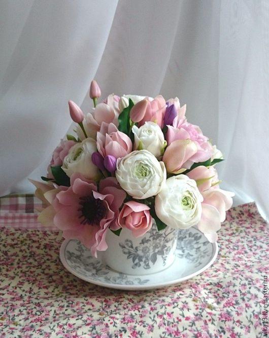 """Букеты ручной работы. Ярмарка Мастеров - ручная работа. Купить Чашечка """"50 оттенков розового """". Handmade. Розовый, подарок"""
