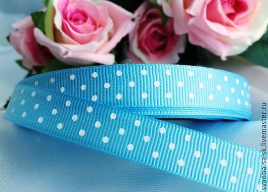 Шитье ручной работы. Ярмарка Мастеров - ручная работа. Купить Лента репсовая голубая в горох 12 мм. Handmade.
