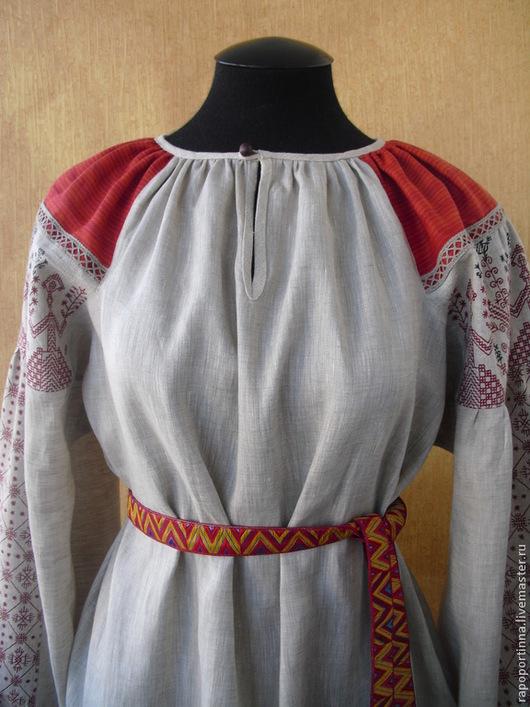 Одежда ручной работы. Ярмарка Мастеров - ручная работа. Купить Льняная рубаха с орнаментом. Handmade. Серый, фольклорная одежда