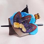 Украшения handmade. Livemaster - original item Barrette GARDENS with hairpin citrine, beads, silk, leather, wood. Handmade.
