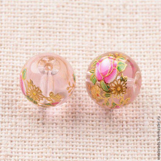 Бусина стеклянная с рисунком 10 мм цвет бледно-розовый, отверстие ок. 1 мм. Очень красивые бусинки! (арт. 2260)
