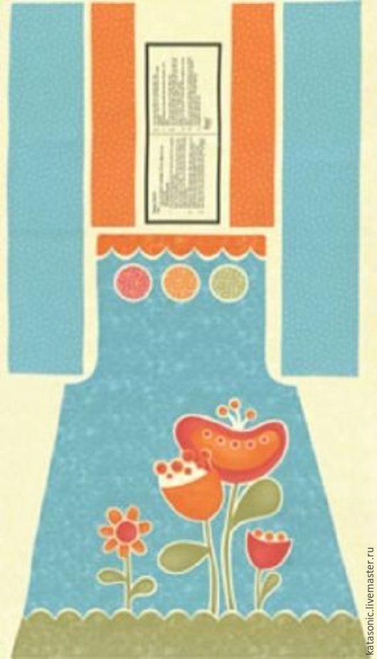 Шитье ручной работы. Ярмарка Мастеров - ручная работа. Купить 1111 ФАРТУК. ПАНЕЛЬ. Американская ткань. Handmade. Голубой, фартук