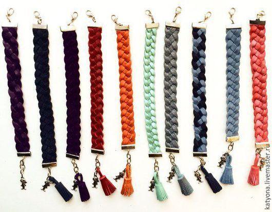 Браслеты ручной работы. Ярмарка Мастеров - ручная работа. Купить Плетеный кожаный браслет. Handmade. Разноцветный, подарок, металлическая фурнитура