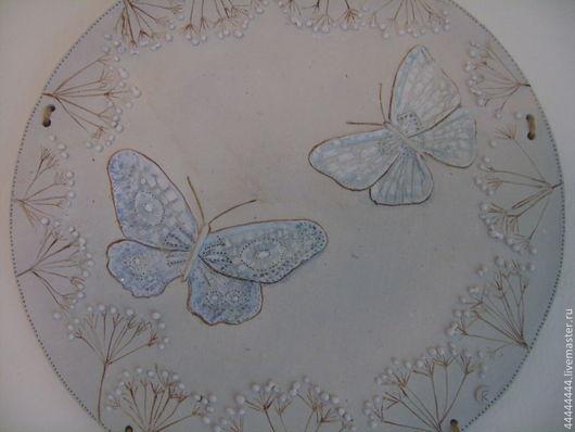 Подарки для влюбленных ручной работы. Ярмарка Мастеров - ручная работа. Купить Панно Жемчужные бабочки Керамика. Handmade. Голубой, нежность