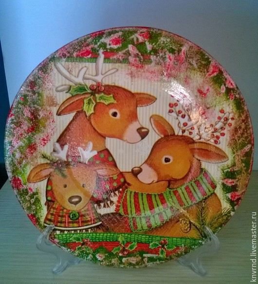 Новый год 2017 ручной работы. Ярмарка Мастеров - ручная работа. Купить тарелки декоративные новогодние. Handmade. Тарелка декоративная