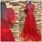 Одежда ручной работы. Ярмарка Мастеров - ручная работа Будуарное платье,  красное. Handmade.