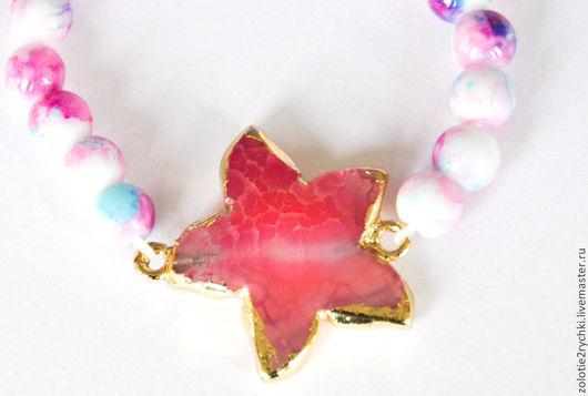 """Браслеты ручной работы. Ярмарка Мастеров - ручная работа. Купить браслет """"розовая звезда"""". Handmade. Розовый, браслет на руку"""