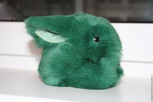игрушка зайчик ручной работы из натурального меха кролика