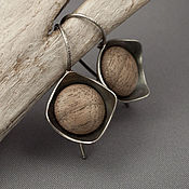 Украшения ручной работы. Ярмарка Мастеров - ручная работа Серьги из серебра и дерева (орех). Handmade.