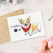 Открытки ручной работы. Ярмарка Мастеров - ручная работа Почтовая открытка - собака корги. Handmade.