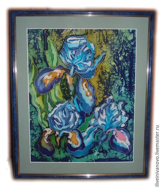 """Картины цветов ручной работы. Ярмарка Мастеров - ручная работа. Купить Панно """"Ирисы"""". Handmade. Тёмно-синий, батик панно"""