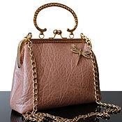 Сумки и аксессуары handmade. Livemaster - original item Powdery leather handbag, purse clasp, brooch, bag powder. Handmade.