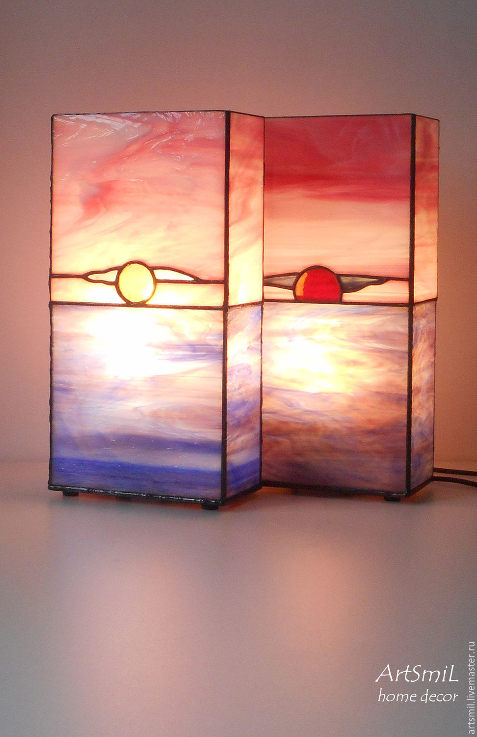 Duet: lamp Dawn and lamp Sunset. Stained glass lamp, Ceiling and pendant lights, Moscow,  Фото №1