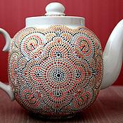 Посуда ручной работы. Ярмарка Мастеров - ручная работа Чайник заварочный с росписью большой. Посуда керамическая. Handmade.