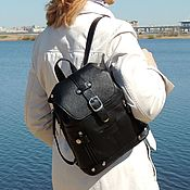 Сумки и аксессуары handmade. Livemaster - original item Small leather women`s backpack black Rimma Mod R13m-111. Handmade.