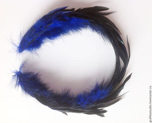 Диадемы, обручи ручной работы. Ярмарка Мастеров - ручная работа. Купить Ободок для волос с перьями синий. Handmade. Тёмно-синий