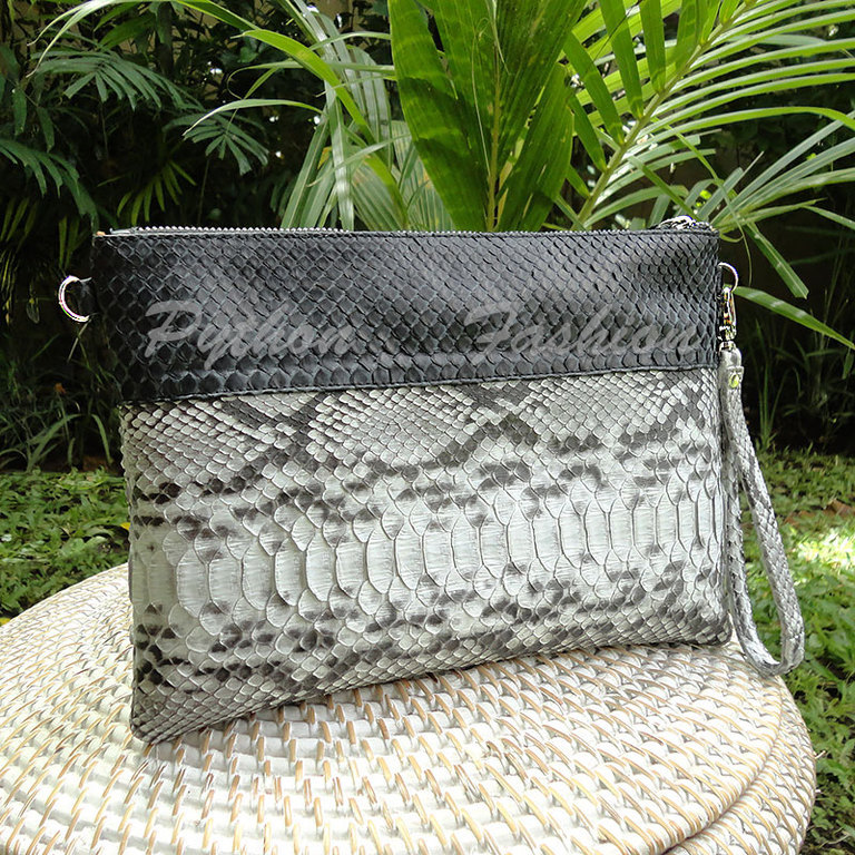 Clutch of Python. Clutch of Python on a long chain. Two-tone clutch bag with handle. Stylish clutch bag made from Python. Betonowy clutch on a chain. Fashion clutch handmade. Women's clutch made of Py