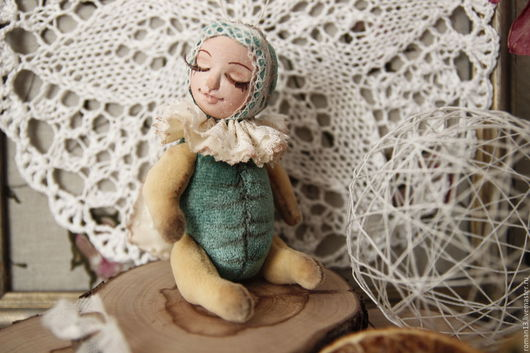 Коллекционные куклы ручной работы. Ярмарка Мастеров - ручная работа. Купить Спящий мотылёк. Handmade. Зеленый, ручная работа handmade